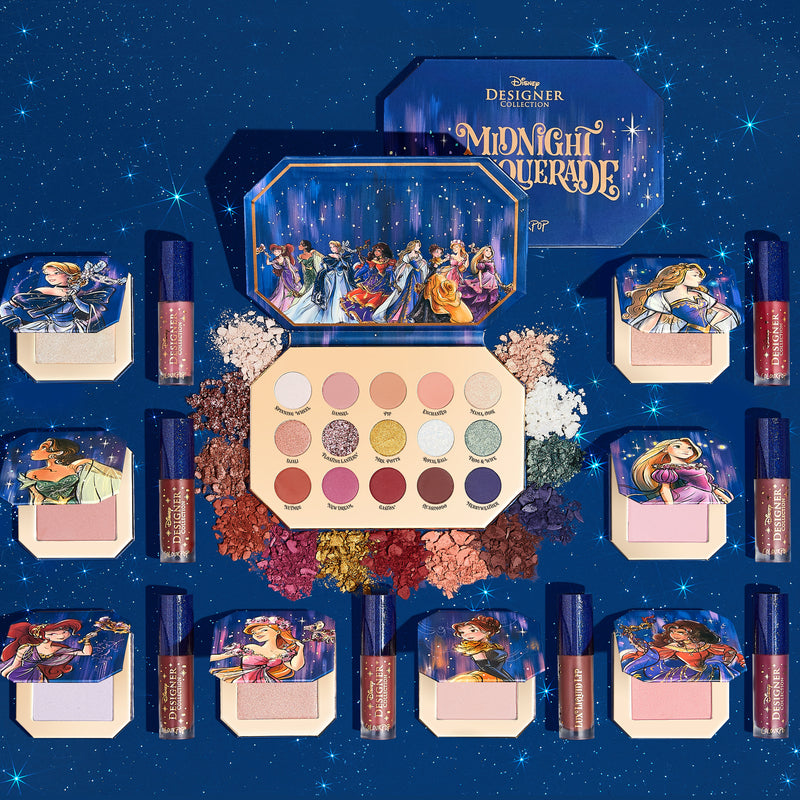 ColourPop Disney Midnight Masquerade PR Collection includes the Midnight Masquerade Palette and all 8 Princess bundles, each including a Lux Liquid Lipstick and Compact Blush or Highlighter