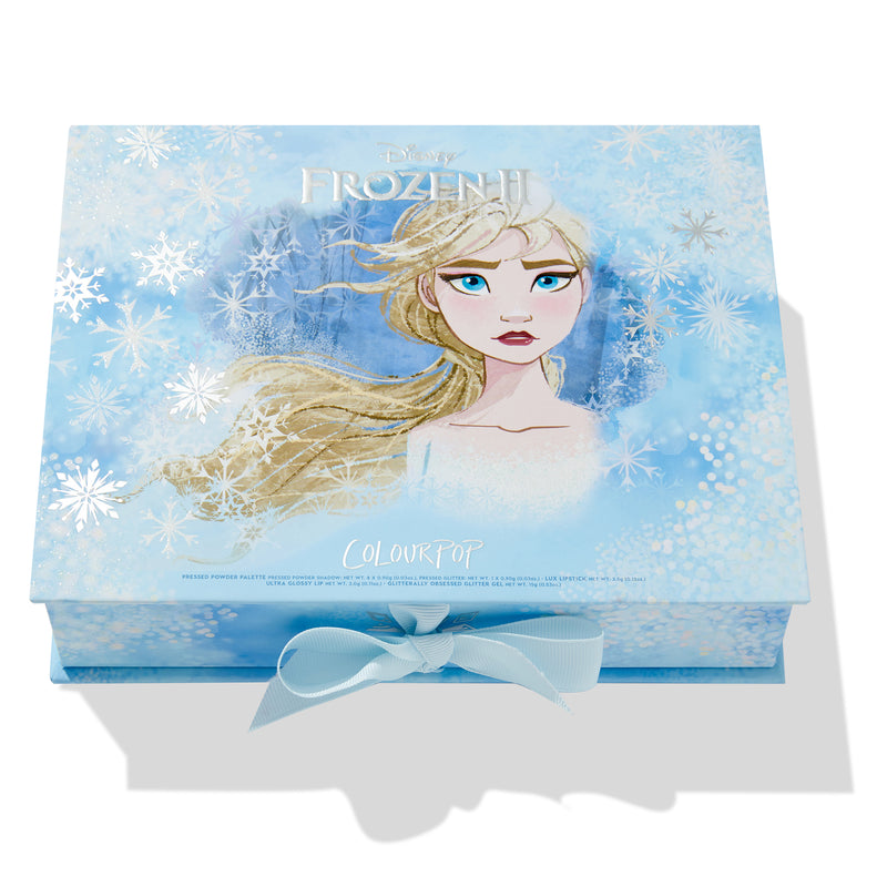 Elsa Collection includes the Elsa Palette, Lux Lipstick, Ultra Glossy Lip, and Glitterally Obsessed Gel