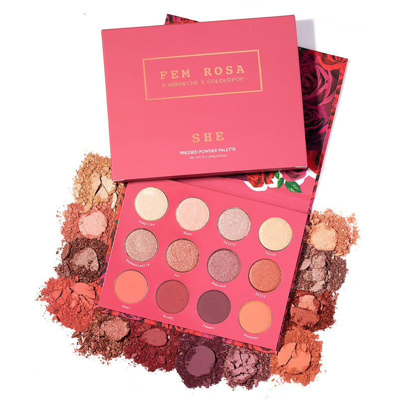 Karrueche x ColourPop - Pink She Pressed Powder Eyeshadow Palette Romantic Roses in Soft Mauve Tones and Buttery Metallic Finishes with Packaging