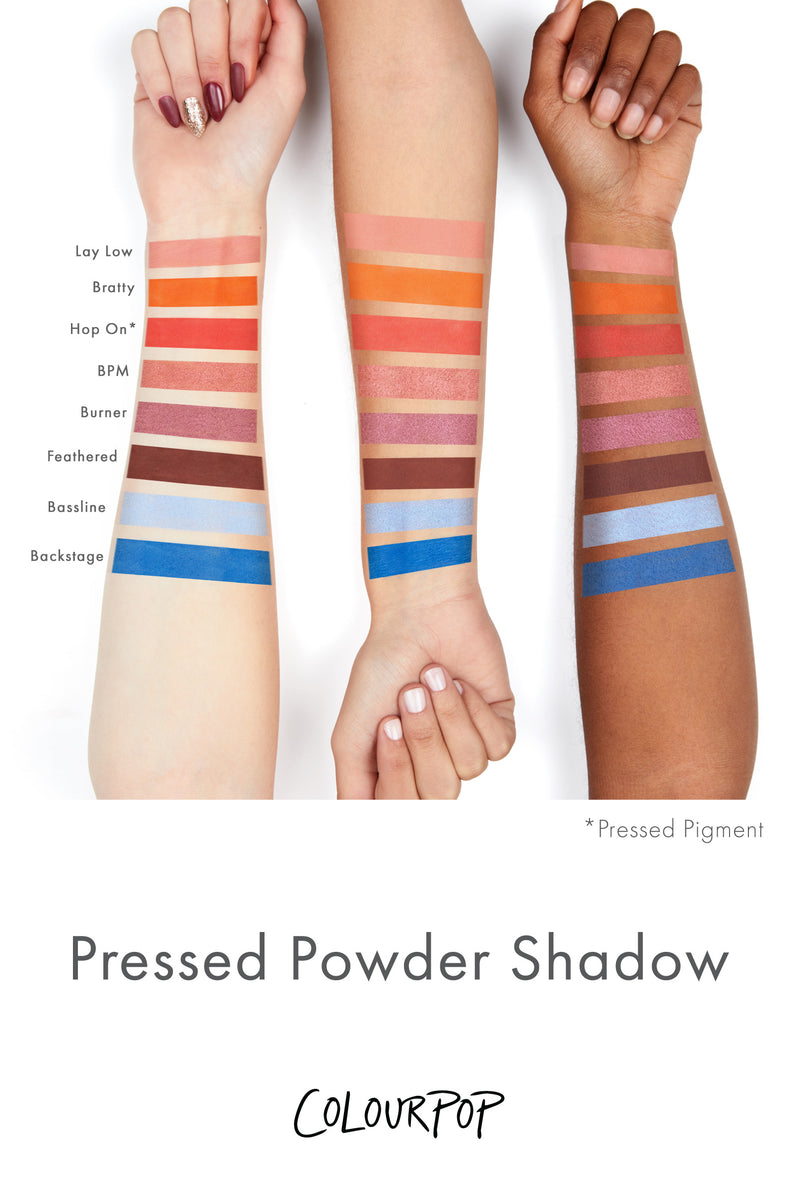 Feathered matte rich chocolate brown Pressed Powder Eyeshadow arm swatches