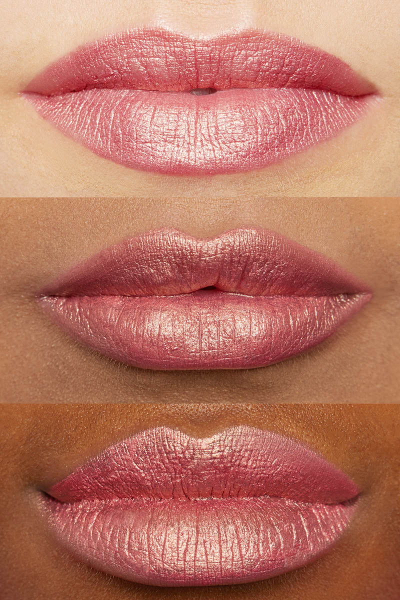 Colourpop Fever Pitch Ultra Metallic Lip metallic golden pink lip swatches