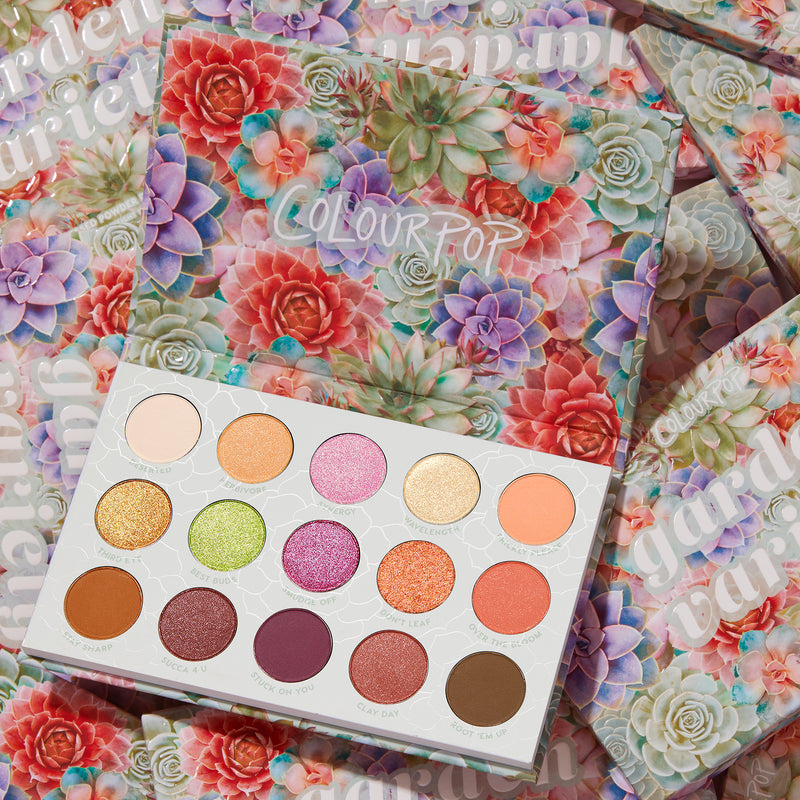 ColourPop Garden Variety 15 pan palette with earthy mattes and vibrant shimmers