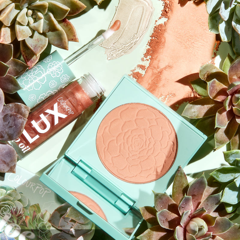 Aloe There! soft nude Lip & Cheek Kit includes Terran Up My Heart Pressed Powder Blush compact with mirror & Blossom Out Lux Lip Oil