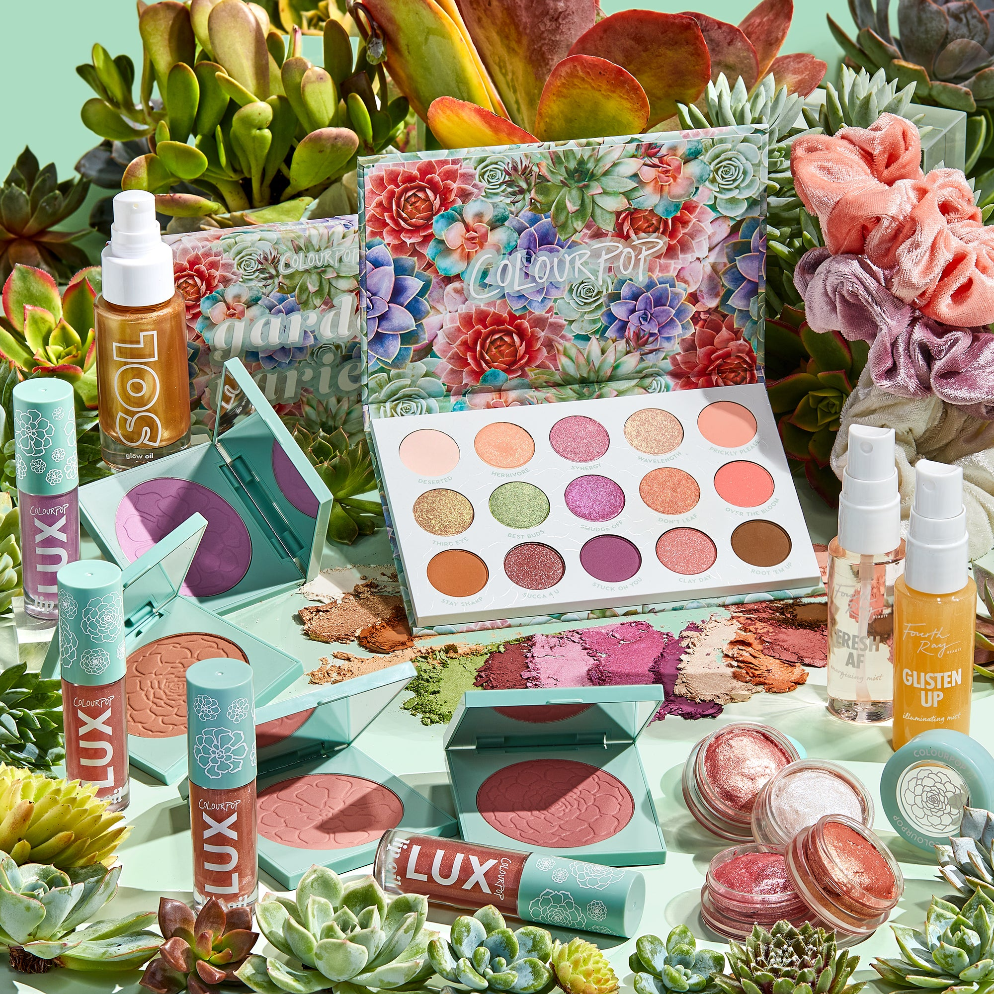 Garden Variety Collection includes Garden Variety eyeshadow palette, jelly much shadows, pressed powder blush compacts, lux lip oils, face mists, scrunchies, and body glow oil