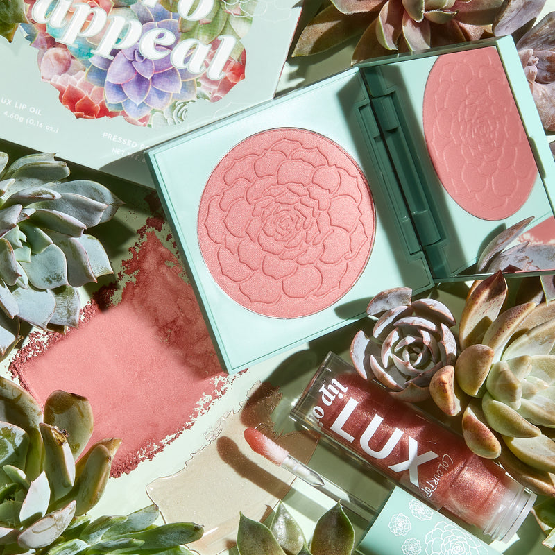Herb Appeal terracotta Lip & Cheek includes Whole Nine Yards Pressed Powder Blush compact with mirror & Local Time Lux Lip Oil