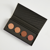 Sonya Esman x ColourPop - Gemini by Night includes Golden Gate Bridge matte warm nude, The Hidden Hills satin warm taupe, Manhattan Coffee Run matte mid-tone brown, and Moscow Sunrise metallic rosy copper Pressed Powder eye Shadows