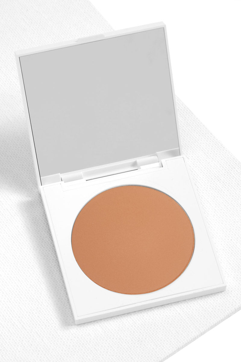 Getting Handsy matte warm nude Pressed Powder Blush in compact