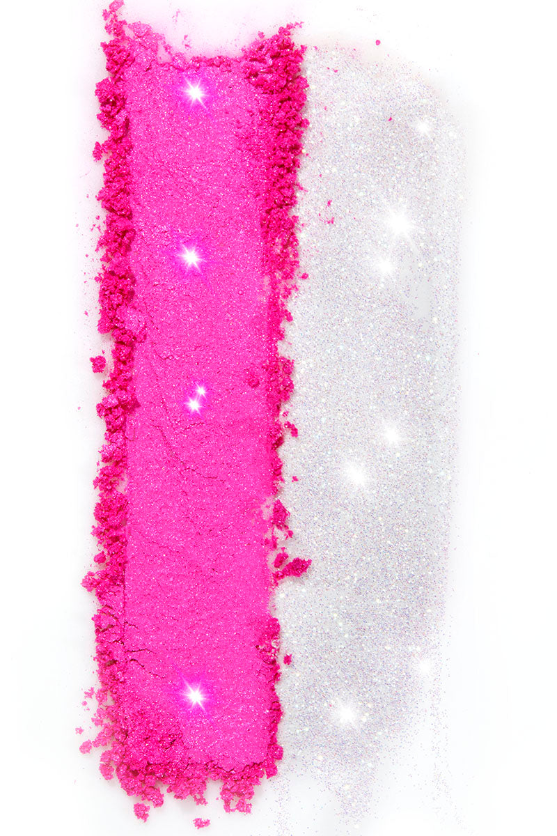 Go Loco neon pink and shimmering white Loose Pigment and Loose Glitter duo!