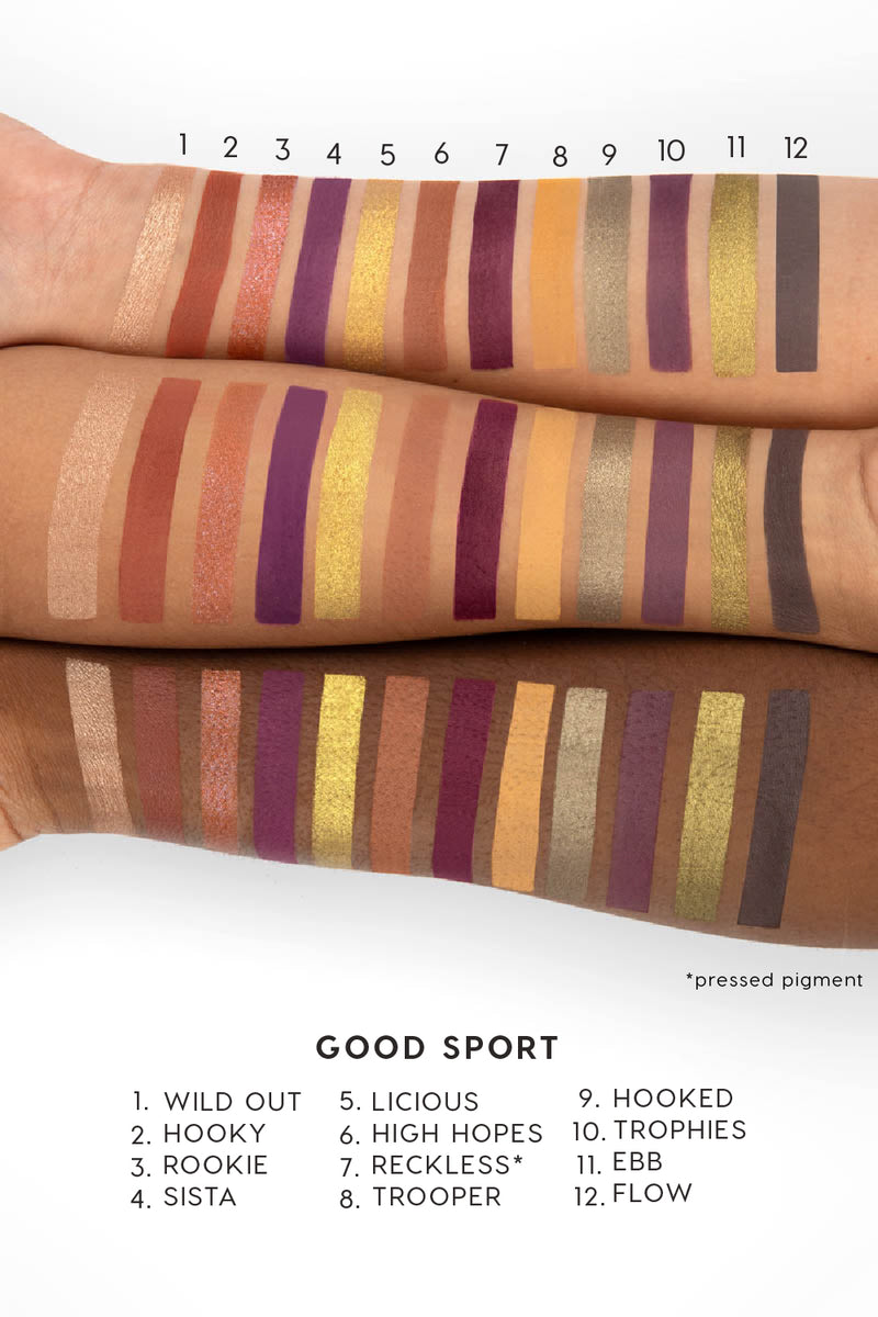 Colourpop Fall Edit Collection Good Sport Pressed Powder Shadow Palette arm swatches
