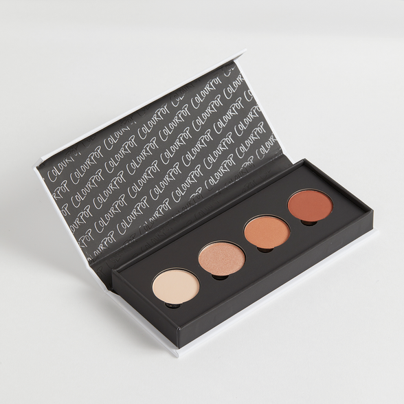 Heavy Hitter Palette includes Full-Zip matte warm ivory, Ringer metallic warm champagne, Side Tracked matte terracotta, and Top Notch matte terracotta brown Pressed Powder eye shadows