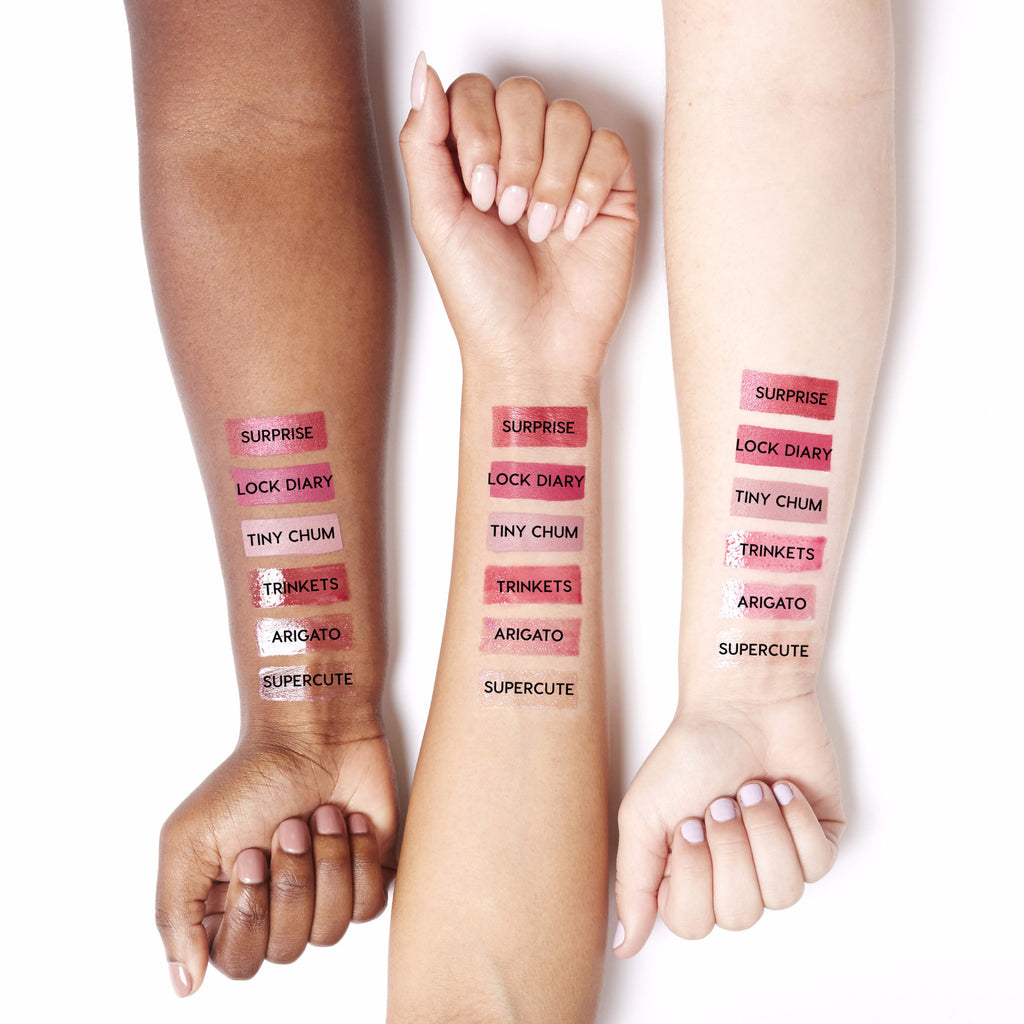 Hello Kitty Surprise Ultra Metallic Lip swatches
