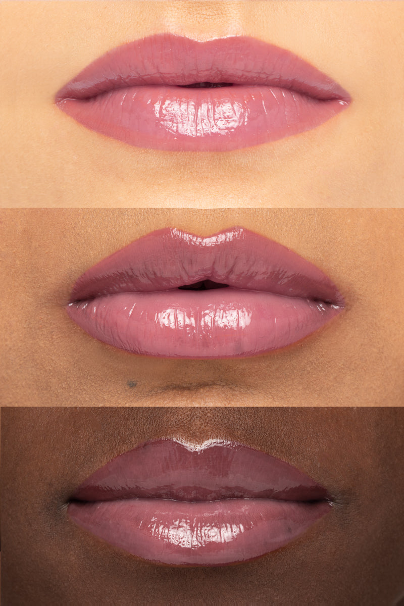 Colourpop x Make A Wish JJ Ultra Glossy Lip soft raspberry hi-shine on lip swatches