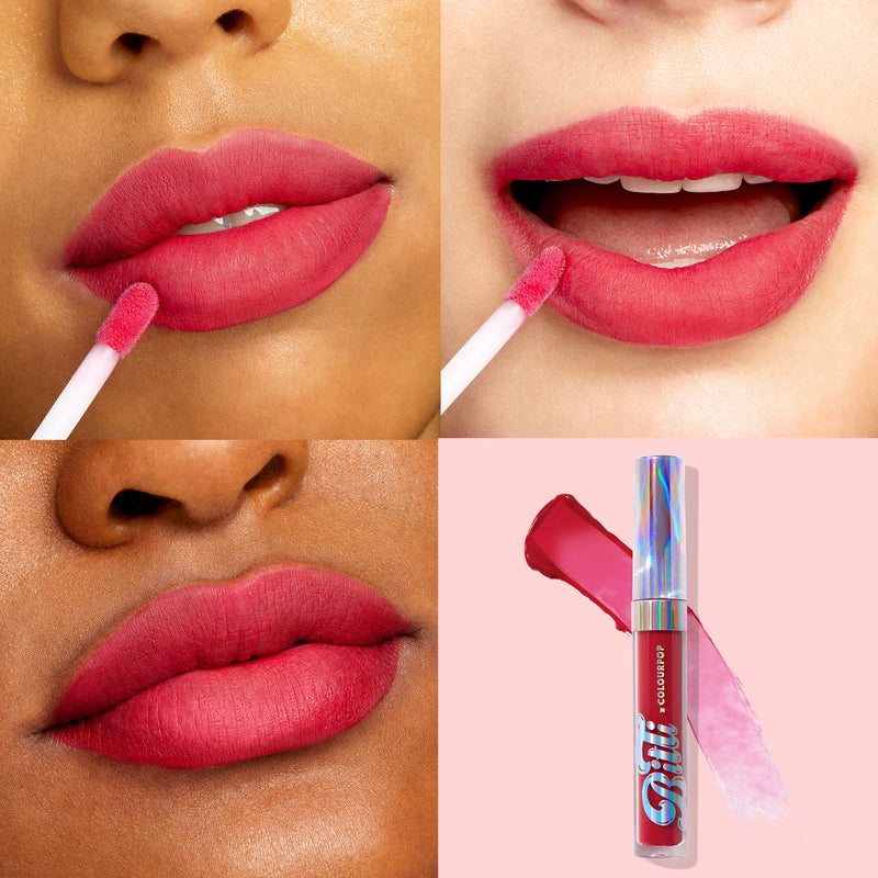 Juicy Drop Sheer matte pinky red Ultra Blotted Lip swatches