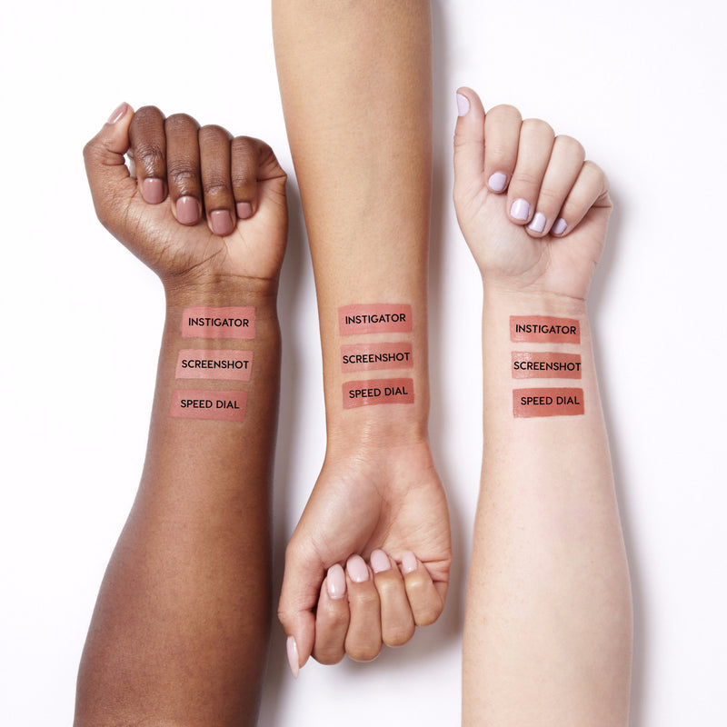 Swatches for our Just Peachy set, which includes Instigator Ultra Matte Lip,  Screenshot Ultra Satin Lip, and Speed Dial Ultra Matte Lip.