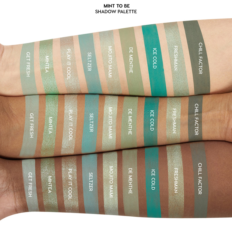 ColourPop Mint To Be Eyeshadow Palette including 9 minty blendable shades in mattes and bold metallics for a soft wash to a vibrant dramatic look Arm Swatches