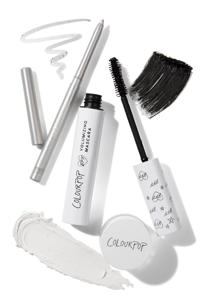 Mod about you liner set Create a graphic, mod inspired eye look with 3 essential BFF products: the blackest volumizing mascara and white and silver liners to get big drama.