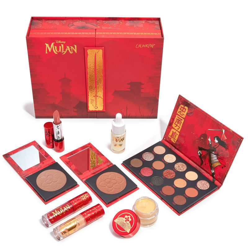 Mulan PR box closed with products displayed in front of the box