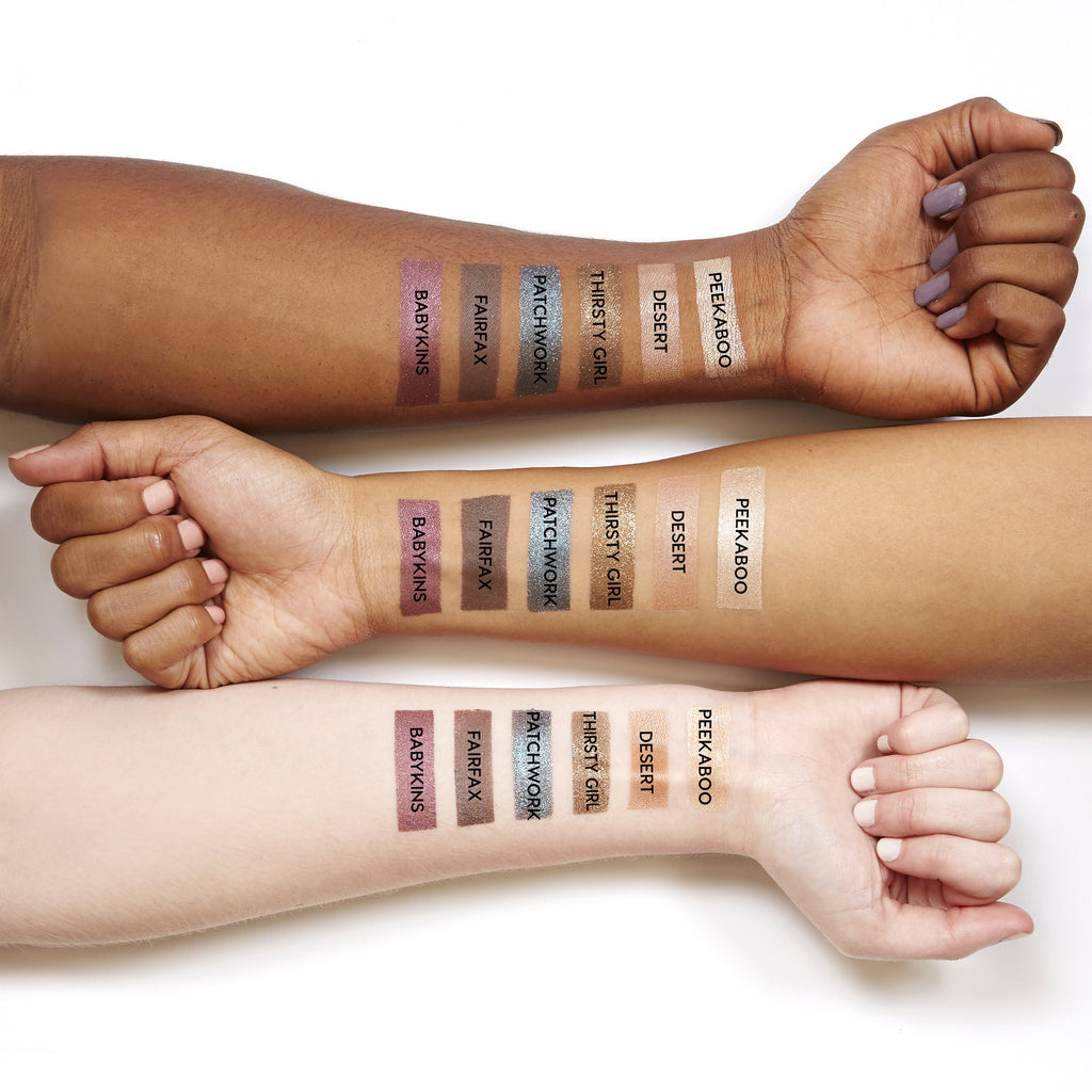 Swatches for our Never Not Chillin set, which includes Peekaboo, Desert, Thirsty Girl, Patchwork, Fairfax, and Babykins eye shadows