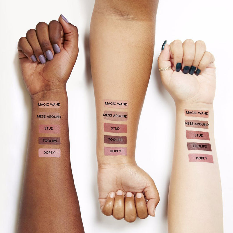 Too Lips deep dark plum brown Ultra Satin Lipstick arm swatches