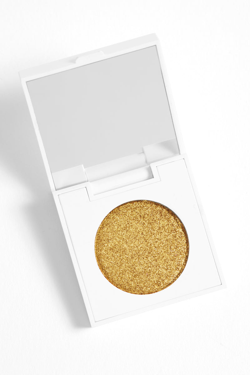 Karat Cake metallic chartreuse Pressed Powder Shadow in compact