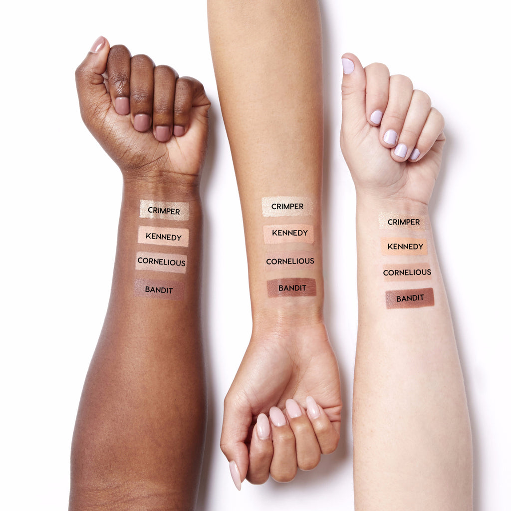 Swatches for our Peachy Keen set, which includes Crimper, Kennedy, Cornelious, and Bandit eye shadows