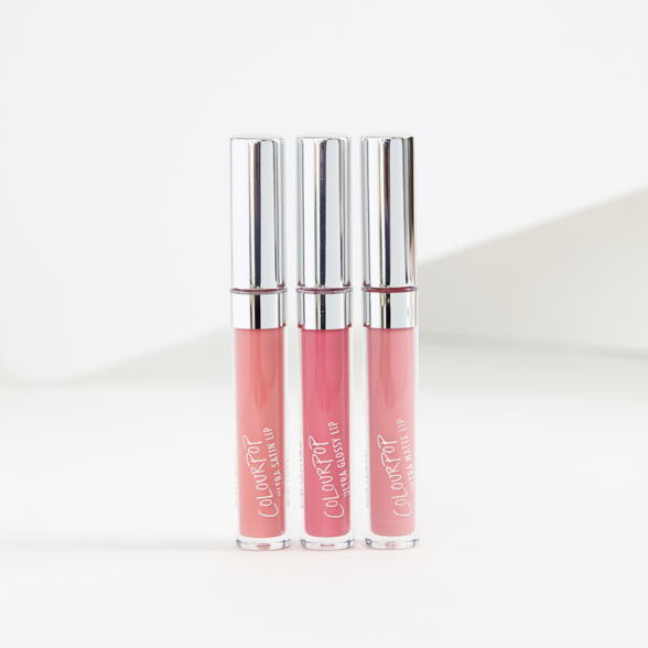 Pink Phase 2 includes Chandelier true salmon pink Ultra Satin Lip, Fresh Cut true blue pink Ultra Matte Lip, Curtsy mid-tone warm pink Crème Ultra Glossy Lip
