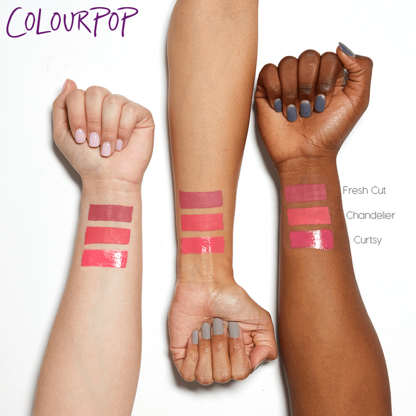 Pink Phase 2 includes Chandelier true salmon pink Ultra Satin Lip, Fresh Cut true blue pink Ultra Matte Lip, Curtsy mid-tone warm pink Crème Ultra Glossy Lip swatches