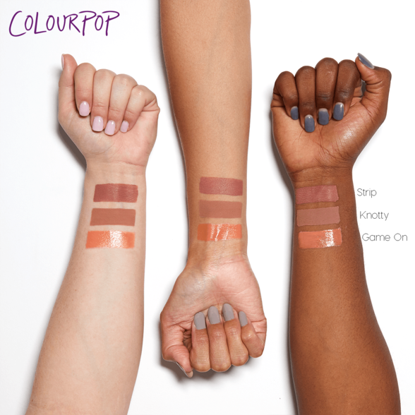 Sand Phase 3 includes Strip warm beige Ultra Satin Lip, Knotty light warm taupe Ultra Matte Lip, and Game On light warm nude Crème Ultra Glossy Lip swatches