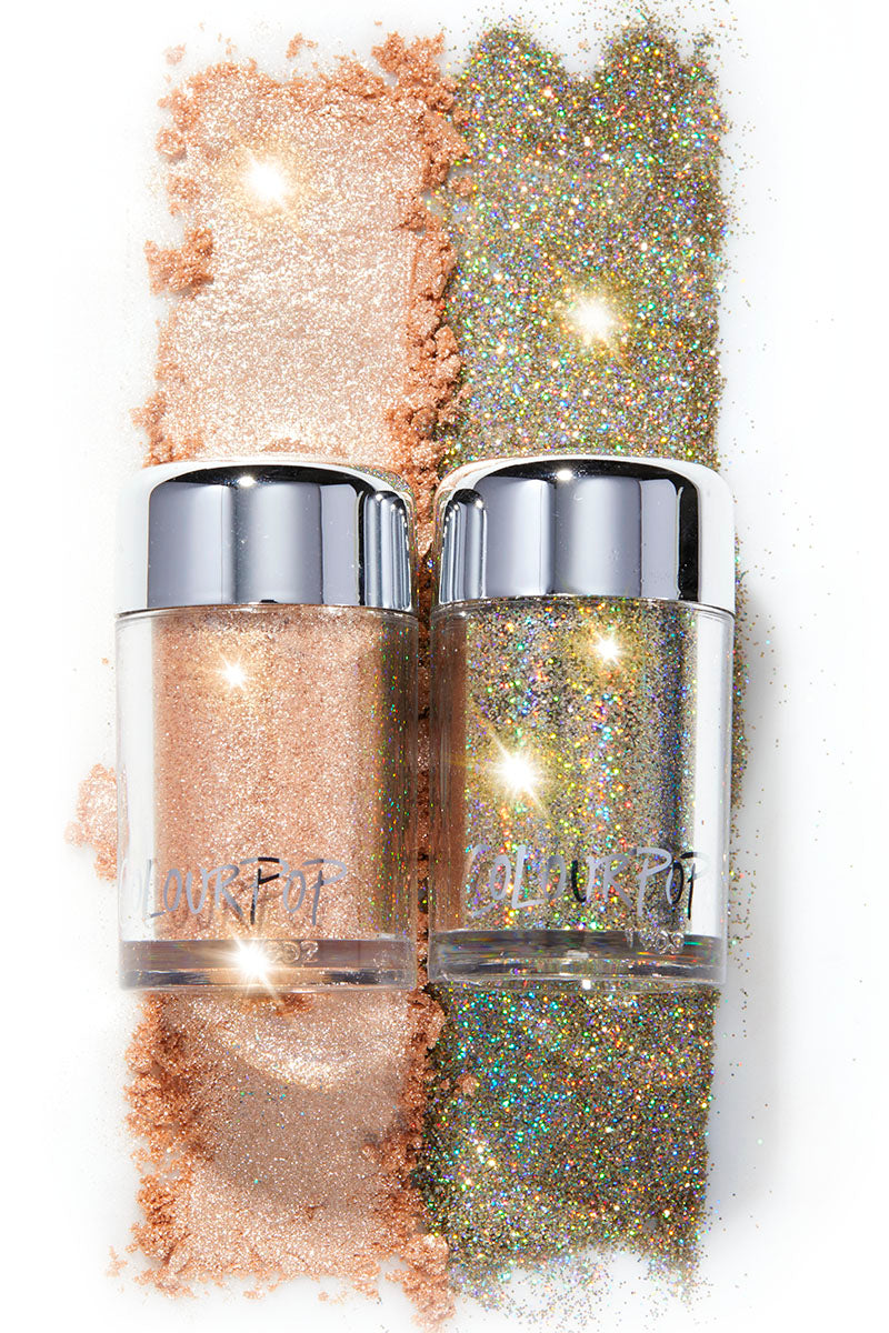 Pop Bottles icy champagne and gold Loose Pigment and Loose Glitter duo