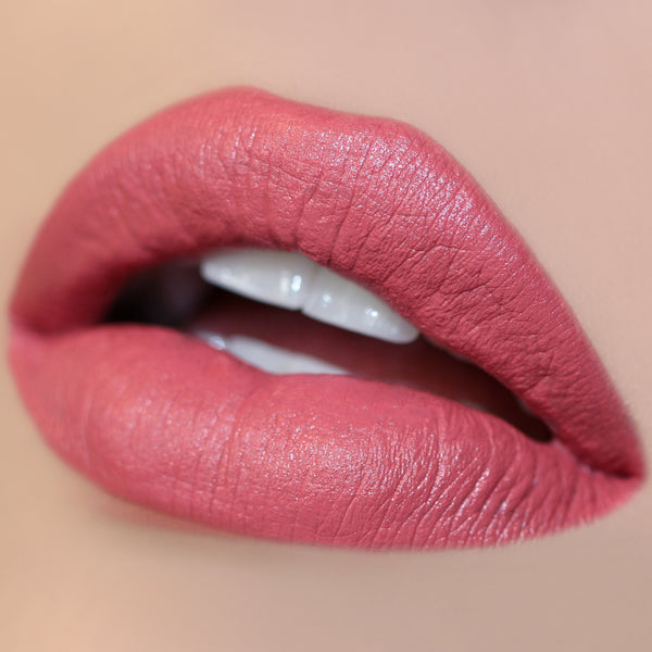 Schnookums mid-tone warm rose Ultra Satin Lip swatch