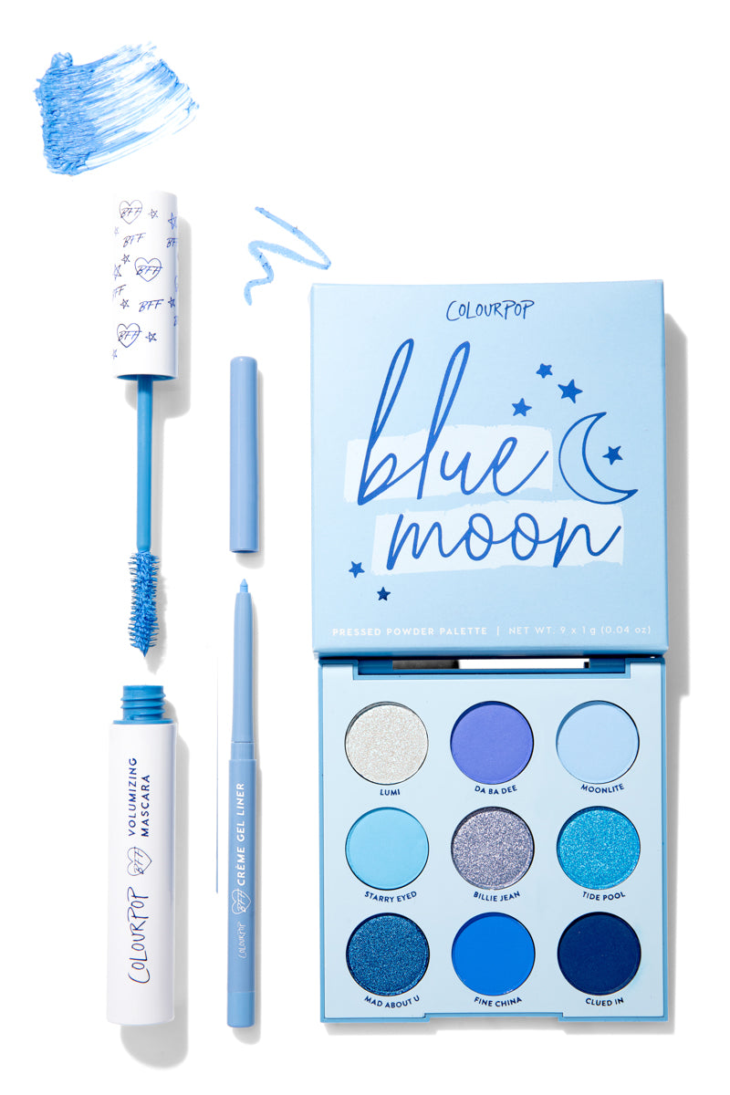 Sky Candy Set includes Blue Moon Palette, Sky High BFF Mascara, Prance Creme Gel Liner.