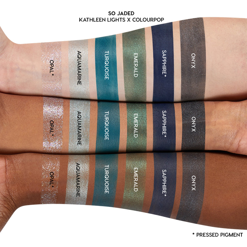 Kathleen Lights x ColourPop So Jaded Mega Colorful Eyeshadow Palette 30 super pigmented shades matte, metallic, super shock and pressed glitter Arm Swatches