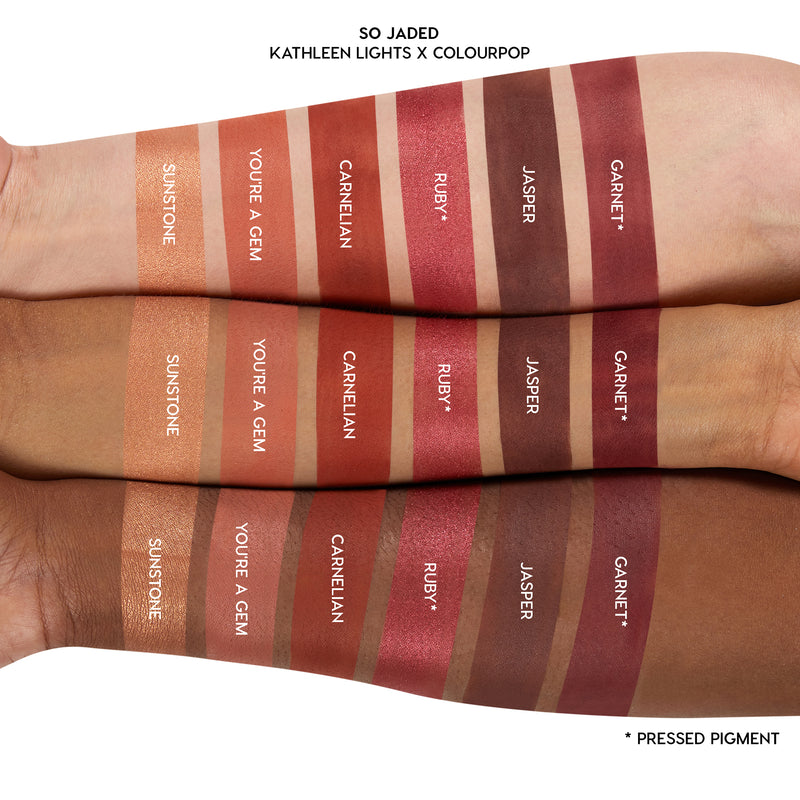 Kathleen Lights x ColourPop So Jaded Mega Palette pink red shades arm swatches