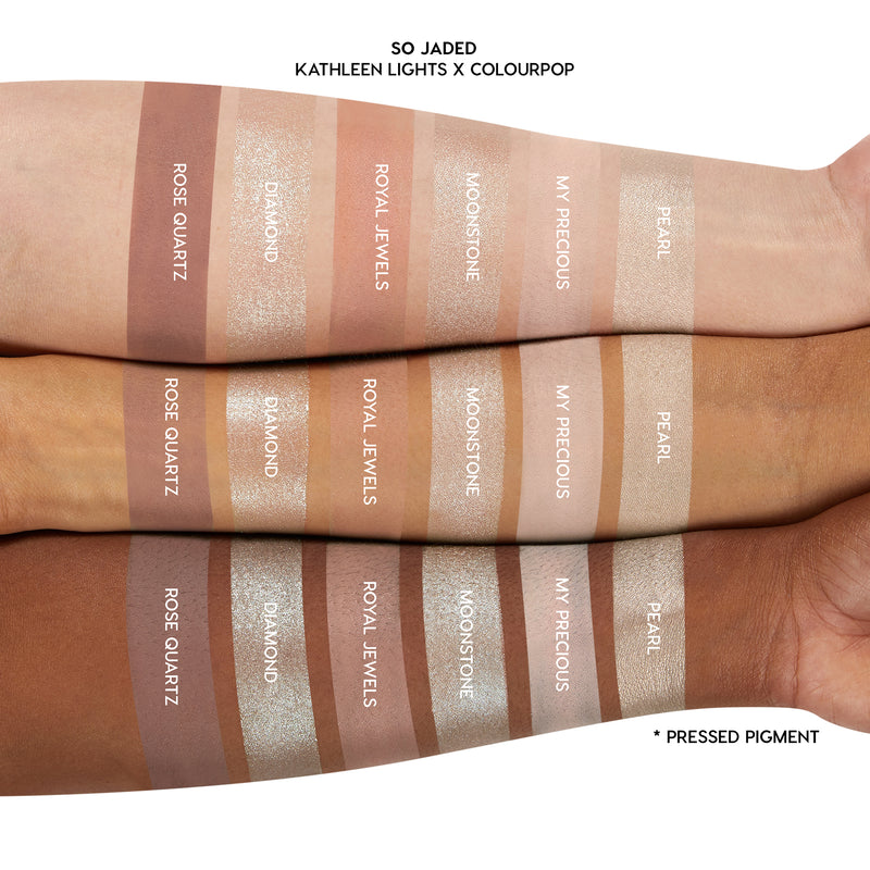 Kathleen Lights x ColourPop So Jaded Mega Palette light neutral shades arm swatches