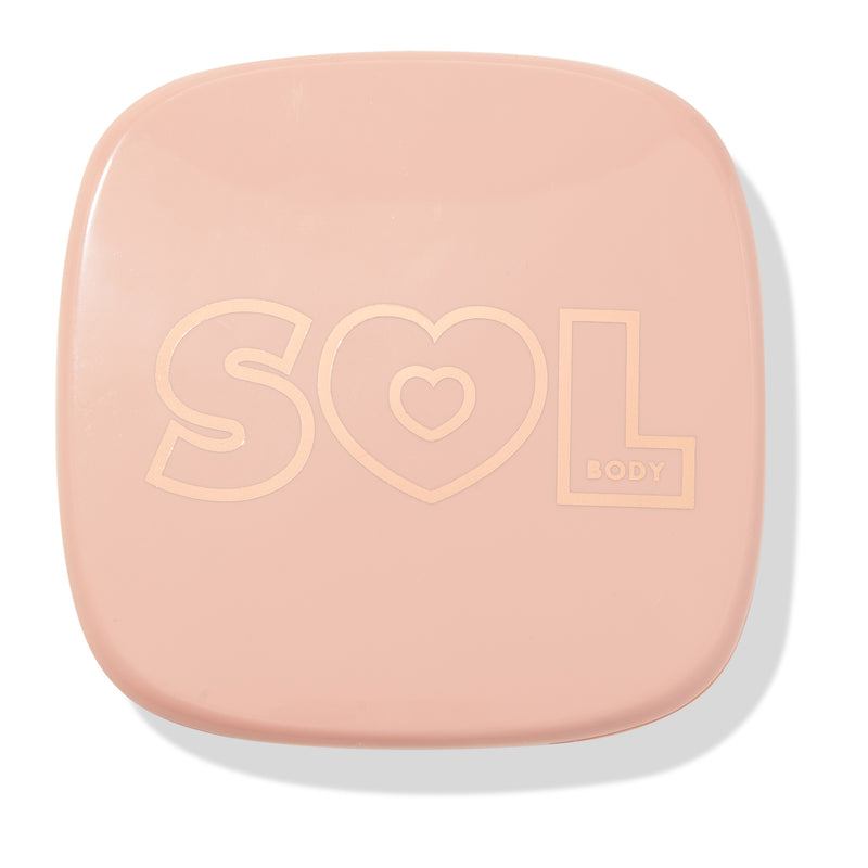 Soft Pink powder highlighter compact closed
