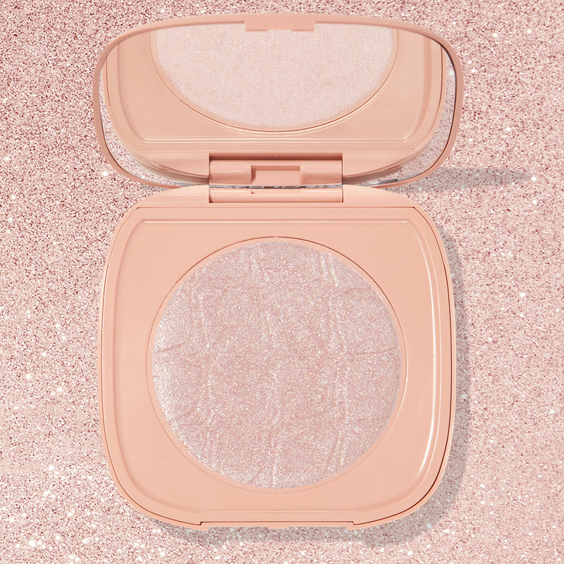 Soft Pink icy pink with gold pinpoints SOL Face & Body Highlighter compact with mirror