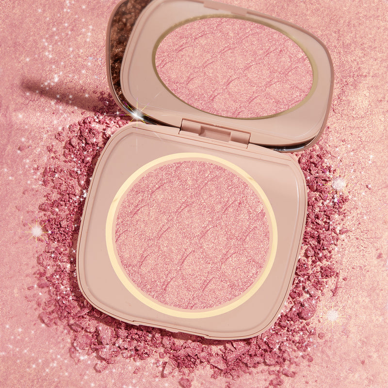 Pink Champagne Liquid-Powder Face & Body Highlighter with product swatch