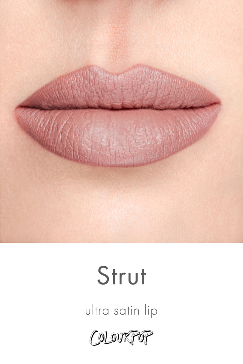 Strut cool-toned taupe Ultra Satin Lip lipstick swatch on fair skin