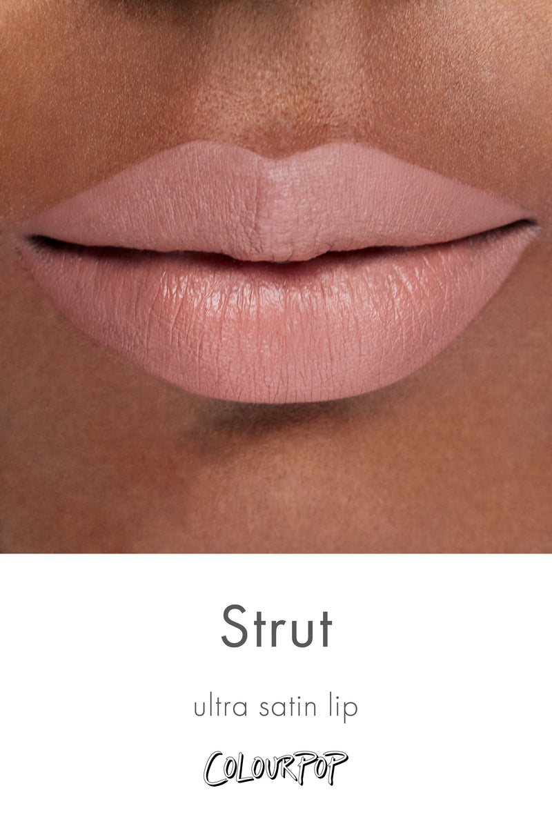 Strut cool-toned taupe Ultra Satin Lip lipstick swatch on deep skin