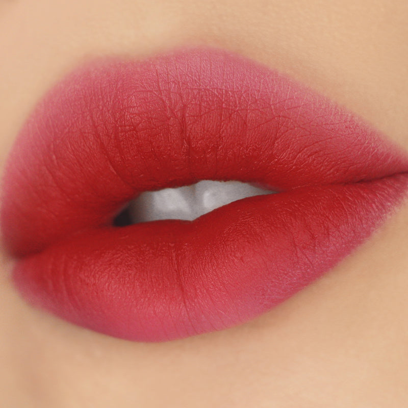 ColourPop Take A Bao Soft Velvet Rich Red Lux Liquid Lipstick that creates a diffused look Lip Swatch