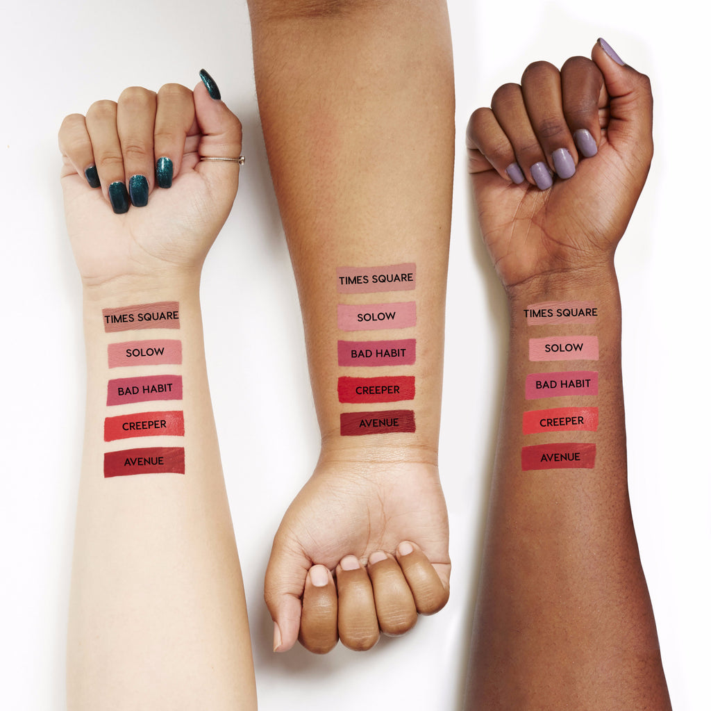 Swatches for The Good Times set, which includes Times Square, Solow, Bad Habit, Creeper, and Avenue Ultra Matte Lips