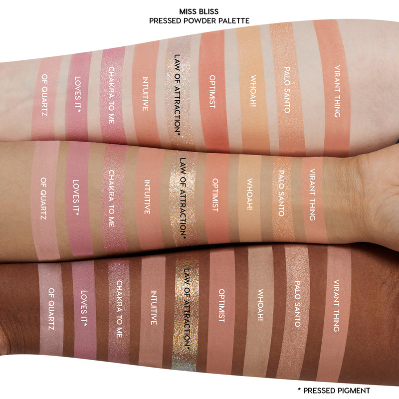 Miss Bliss pastel Dreamy pinks and warm corals eyeshadow palette arm swatches