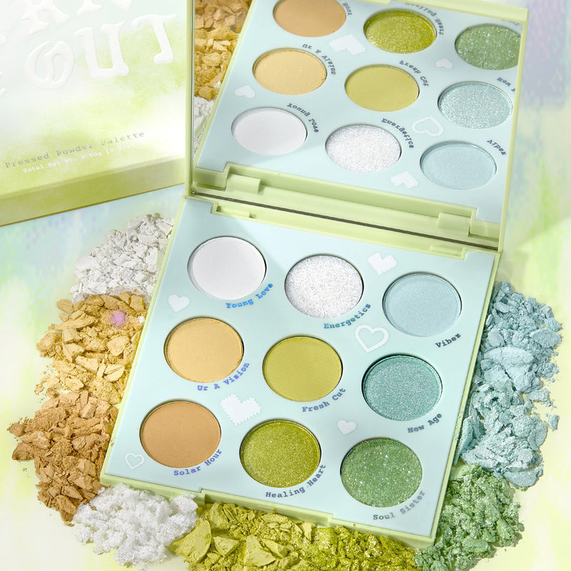 Aura & Out pastel Yellow, chartreuse, and mint Eyeshadow Palette arm swatches