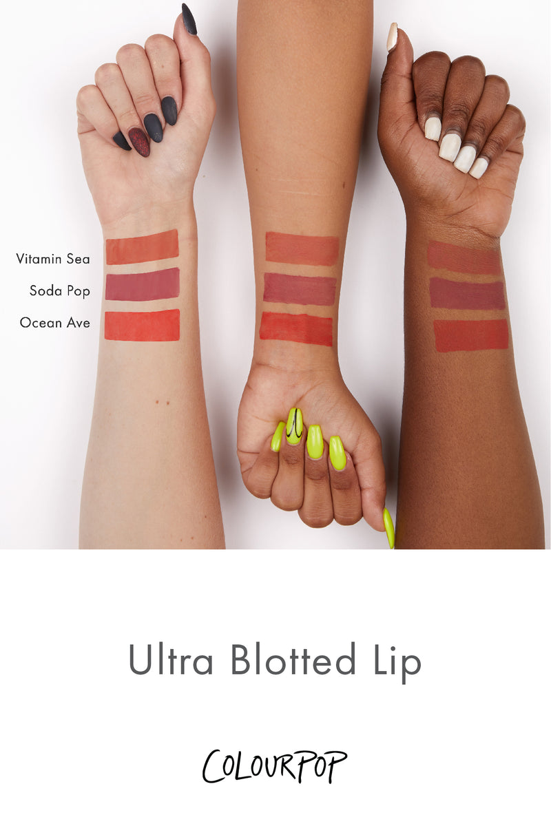 Colourpop Ocean Avenue Hot Red Ultra Blotted Lip arm swatches