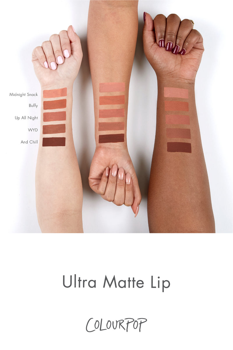 And Chill deep chocolate brown Ultra Matte Lipstick arm swatches