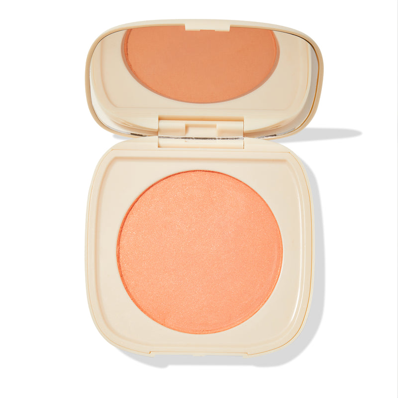 Wayfarer soft warm peach Pressed Powder Blush with pinpoints of gold and silver pearl compact with mirror
