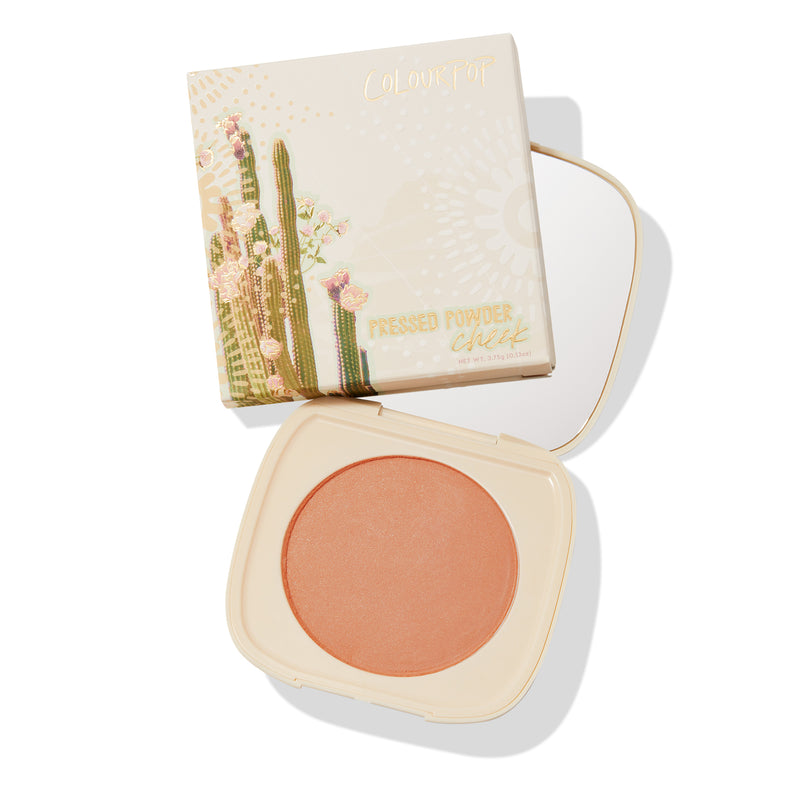 Wayfarer soft warm peach Pressed Powder Blush with pinpoints of gold and silver pearl compact with mirror and unit carton