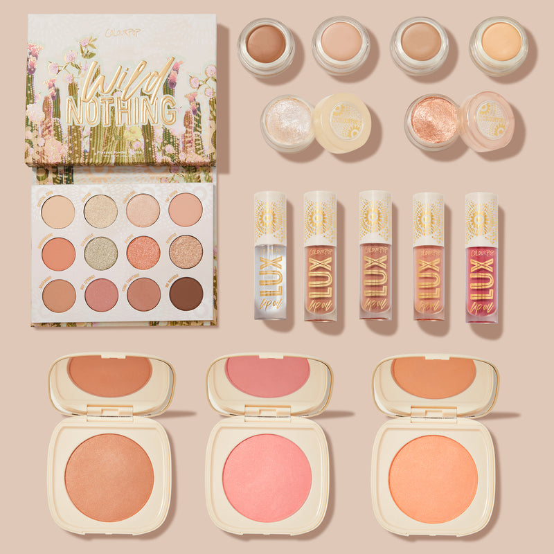 Colourpop Wild Nothing Collection is entirely vegan and perfect for summer days. The full collection set includes the Wild Nothing Palette, Cactus Blossoms Lip Kit, Pressed Powder Blush Compacts, new Créme Shadows, and Jelly Much Shadows.