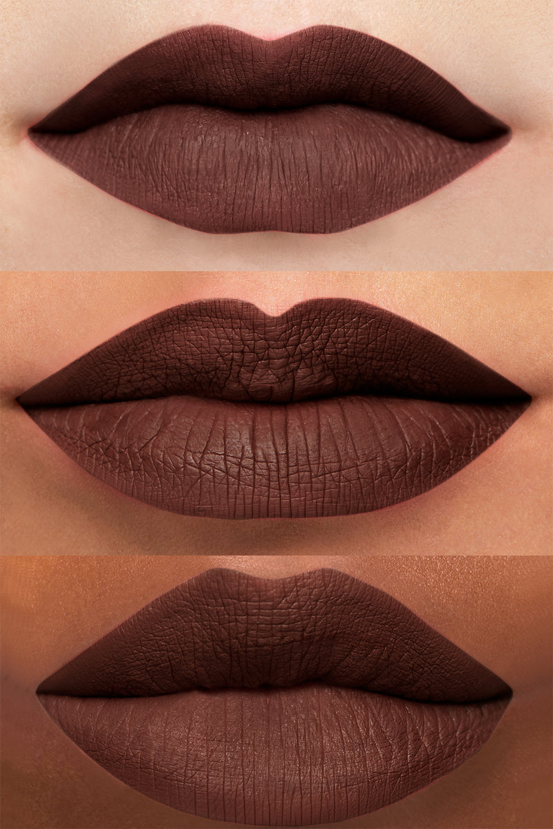 And Chill deep chocolate brown Ultra Matte Lipstick lip swatches