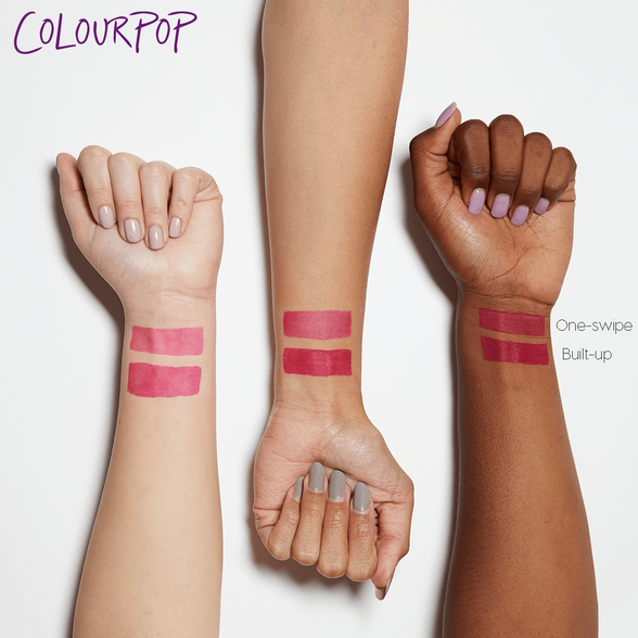 Bee's Knees sheer matte fuchsia pink Blotted Lip arm swatches